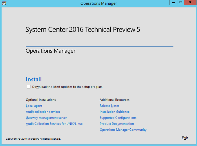 Installing System Center Operations Manager (SCOM) 2016 Step